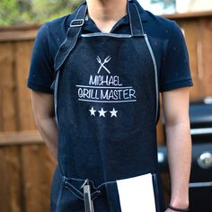 Personalized apron with high quality embroidery. All our aprons are handmade with premium materials to ensure durability and comfort. They are an essential gift for anyone who enjoys to bake, cook, or grill! Available in black, white, denim and coral pink. We offer awesome unique designs for awesome people! Embroidered Apron, Personalized Aprons, Bbq Apron, Kitchen Aprons, Grill Master, Long Ties, White Denim, Black White, Coral Pink