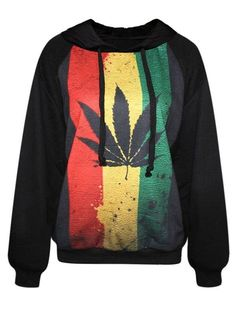 Modern Long Sleeve Maple Leaf Pattern Black 3D Painted Hoodie - beddinginn.com