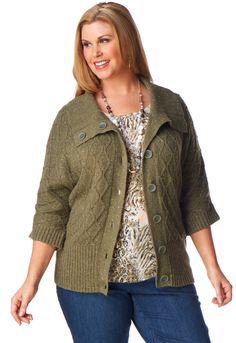 Fold Collar Textured Cardigan - CJ Banks