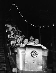 Riding the roller-coaster after dark was double the fun.