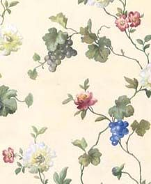 Vines with Flowers and Grapes Blue and Burgundy Wallpaper in Mulberry Prints