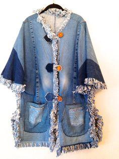 vintage denim jacket 1990s plus size denim fringe by WetDesert
