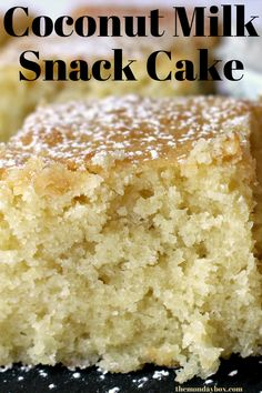 Coconut Milk Snack Cake is soft and tender. An easy, dairy free treat for coconut fans! Recipes Using Coconut Milk, Coconut Desserts, Easy Desserts, Coconut Milk Cake Recipe, Coconut Cake Easy, Gluten Free Coconut Cake, Coconut Cakes, Delicious Desserts, Baking Recipes