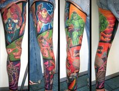 Out of all the superhero tattoos I've seen - this might be my favorite. I want that Captain America.