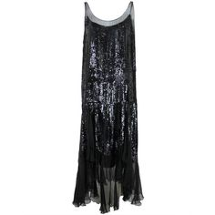 1920's Jet Black Sequined Chiffon Flapper Dress ❤ liked on Polyvore featuring dresses, 1920s flapper dress, roaring 20s dress, roaring twenties dresses, gatsby dress and 1920s style dresses
