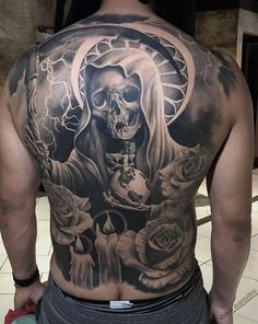 Black and Grey Skeleton Santa Muerte Back Tattoo By Oak Adams Harley Tattoos, M Tattoos, Chicano Tattoos, Skull Tattoos, Body Art Tattoos, Sleeve Tattoos, Portrait Tattoos, Cool Back Tattoos, Back Tattoos For Guys