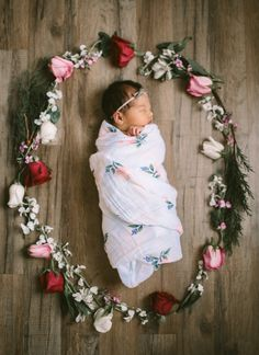 Watercolor Rose Cotton Swaddle #littleunicorn
