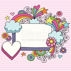 Hand-drawn Retro Groovy Rainbow, Stars, & Hearts Notebook Doodle Vector Illustration on Pink Lined Paper Background. I ? Doodles!
