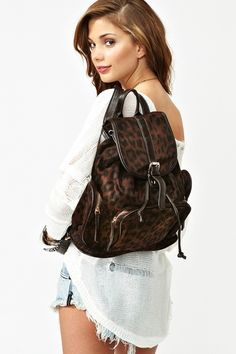Nasty Gal Leopard Backpack
