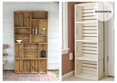 estanterias cajas recicladas  de madera
