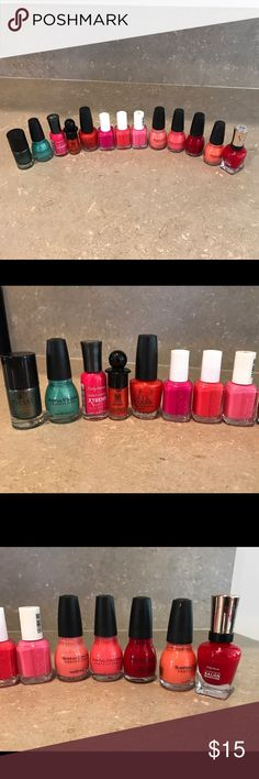 13 Piece Nail Polish Lot 13 Piece Nail Polish Lot! 3 Essie Polishes & 1 OPI. All polishes are at least 85% full except the Sally Hanson Red which is about 65% full. Let me know if you have any questions :-) Other