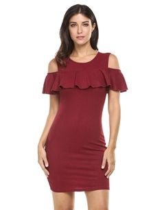 Black O-Neck Off Shoulder Solid Ruffle Package Hip Going Out Dress