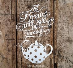 Papercut Template PDF 'A Brew will see you Through' Printable Cut Your Own Papercut by Samantha's Papercuts