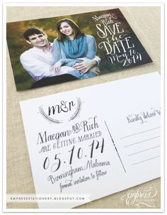 Maegan and Rich's save the date postcard