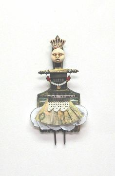 Medium: Assemblage MIxed Media  Title: Queen II  Artist: Carla Trujillo  Dimensions: 10x6.25  Signature: on back of piece and comes ready to