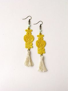 Yellow lace and tassel earrings by whiteowl DIY inspiration