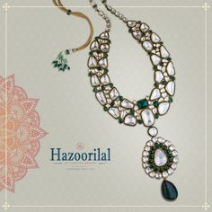 Look resplendent in this expertly handcrafted #polki necklace. Own this timeless piece of jewel forever. Visit #HazoorilalJewellersGk for more unique designs.