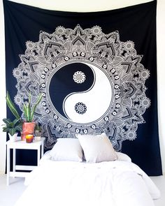 Black & White Yin Yang Tapestry – The Bohemian Shop Bohemian Fabric, Bohemian Room, Bohemian House, Mandala Tapestry, Boho Designs, Tapestry Wall Hanging, Yin Yang, This Is Us, House Design