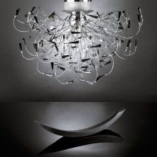 Celeste is a contemporary chandelier with black crystals