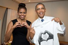 "President and Mrs. Obama with ""Hate Won't Win"" t-shirt after Funeral of Rev. Clementa Pinckney."