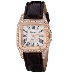 Fashion Women Watch Analog with Shiny Diamonds Design Square Dial Leather Watch Band #CLICK! #clothing, #shoes, #jewelry, #women, #men, #hats, #watches