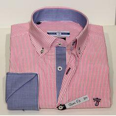 Camisa manga larga de rayas en tonos rosas y blancas Talenti Jeans Slim Fit…