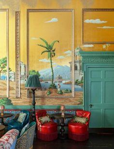 Behind the Scenes of Martin Brudnizki's Amazing, Maximalist Restaurants Swinging London, Hand Painted Wallpaper, Painting Wallpaper, Painted Walls, Hyde Park, Hula, De Gournay Wallpaper, London Nightlife, Elephant Room
