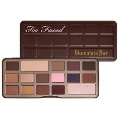 Too Faced - The Chocolate Bar Eye Palette #sephora - Possibly in my all time Top 5 for best eye shadow palettes. You have a great range of mattes and shimmers, warm and cool tones and light-dark. You could literally achieve your whole eye look with this as there are shades for highlight, lid, crease and liner. Did I mention the whole thing smells like chocolate and is cruelty free....yeah baby.