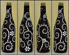 Black and white mosaic wine bottle | Finished this last nigh… | Flickr