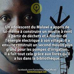 Un adolescent du Malawi a appris de lui-même à construire un moulin à vent à partir de déchets et à fournir de l'énergie électrique à son village. Il a ensuite construit un second moulin plus grand pour les pompes d'irrigation. Il a fait tout cela grâce aux livres qu'il a lus dans la bibliothèque. | Saviez Vous Que?
