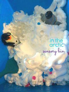 in the arctic sensory bin - play dough & popsicles - water beads, shaving cream