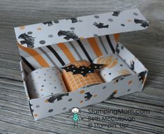 Stampin Up 3 Nugget Box made with Halloween Night Specialty DSP designed by demo…