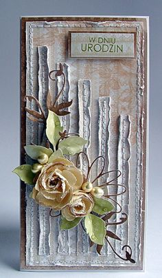 Beautiful idea by Dorota_mk: styczeń 2013 Flower Cards, Paper Flowers, Mixed Media Cards, Shabby Chic Cards, Pretty Cards, Card Tags, Creative Cards, Vintage Cards, Greeting Cards Handmade