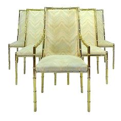 Brass Bamboo Dining Chairs - Set of 6 on Chairish.com