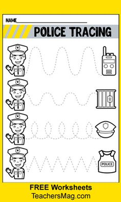 Community Helpers Worksheets: Police Officer Free worksheets tell students all about community helpers. These focus on the police officer and all he or she does for us via free printable worksheets for preschool and kindergarten students. Community Helpers Crafts, Community Helpers Kindergarten, Community Helpers Worksheets, Printable Preschool Worksheets, Kindergarten Worksheets, Free Printables, Community Workers, Police Officer Crafts, French Lessons