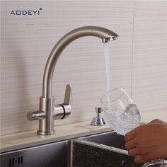 100% Brass Kitchen Faucet Filter Mixer Drinking Water Sink Faucet Deck Mount Hot Cold Mixer 3 Way Water Taps