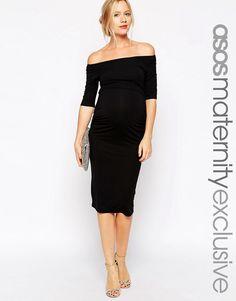 Image 1 ofASOS Maternity Bardot Dress With Half Sleeve