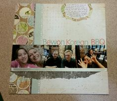 Scrapbook Layout with 4x3 photos. Thats mini photos! Three of them. Paper by Basic Grey. Letter stickers by Basic Grey. Label by Spellbinders Border punch bu EK Success.