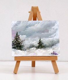 Time For Snow. 3x4 inch original miniature oil painting gift