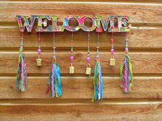Outdoor Welcome Sign, Front Door Decor, Front Door Decoration Outdoor Welcome Sign, Welcome Signs Front Door, Front Door Decor, Front Porch, Porte Diy, Hanging Mobile, Beaded Curtains, Fabric Beads, Hanging Signs