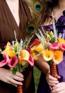 Calla bouquets with peacock feathers