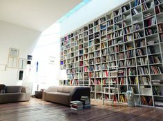 amazing home library interior design ideas inspiration with large bookshelves Floor To Ceiling Bookshelves, Large Bookshelves, Built In Bookcase, Bookcases, Creative Bookshelves, Library Bookshelves, Cube Bookcase, Home Library Design, House Design