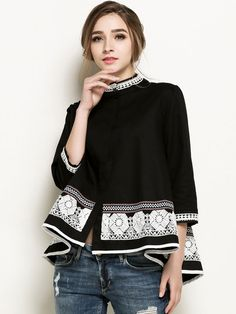Casual Women Bead Embroidery Crochet Patchwork Shirt Blouse can cover your body well, make you more sexy, Newchic offer cheap plus size fashion tops for women. Casual Coats For Women, Stylish Plus, Plus Size T Shirts, Black Women Fashion, Up Girl, White Women, Casual Tops, Casual Shirt, Blouses For Women
