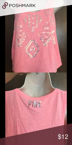 PINK Aztec bling crop top NWT, size XS. Light pink crop top with super cute Aztec pattern in sequins. PINK Victoria's Secret Tops Crop Tops