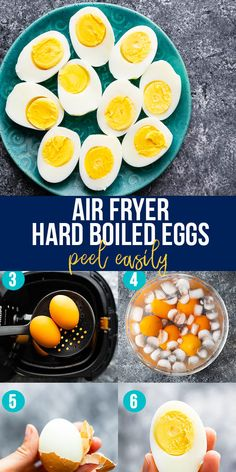 Air fryer hard boiled eggs are cooked through in 16 minutes, peel easily, and are perfectly cooked each and every time! This is such a simple way to cook them. #sweetpeasandsaffron #airfryer #snack #readyunder30 #mealprep #healthysnack Hard Boiled, Boiled Eggs, Simple Way, Meal Prep, Healthy Snacks, Meals, Cooking, Breakfast, Food