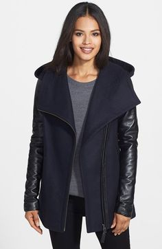 Mackage 'Odelia' Leather Sleeve Hooded Wool Blend Coat available at #Nordstrom