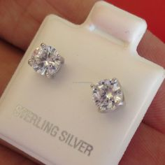 1.00 ct round Brilliant cut stud Earrings solid 925 sterling silver butterfly
