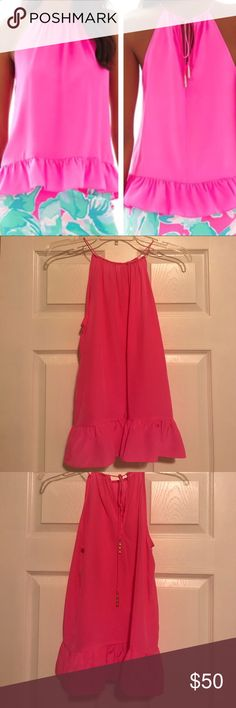 Lilly Pulitzer Millie Halter EUC! Hot pink and 100% silk. Ties at the back of the neck and the ties have gold bamboo shaped ends. Lilly Pulitzer Tops Tank Tops