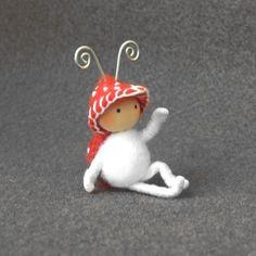 Sweet little toadstool bug doll
