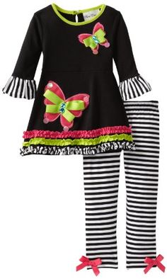 7e5389cf37 Rare Editions Girls 2-6X Stripe Legging Set Toddler Girl Outfits